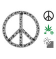 peace mosaic of hemp leaves vector image