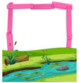 pink wooden frame and river landscape vector image