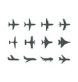 planes symbols aircraft silhouettes jet aviation vector image