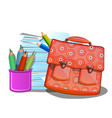 school backpack notebooks and pencils isolated vector image vector image