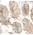seamless romantic background from bird feathers vector image vector image