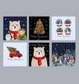 set christmas cards with simple cute vector image vector image