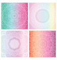 set of 4 cards with floral mandala on tender vector image vector image