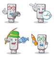 set of flashdisk character with gamer clock vector image vector image