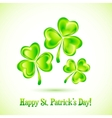 Shining clovers Patricks day greeting card vector image vector image