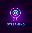 streaming neon label vector image vector image