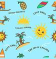 summer beach bold line seamless pattern vector image