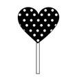 sweet lollipop of chocolate in shape heart vector image vector image