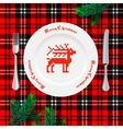 Table setting for Christmas dinner vector image vector image