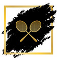two tennis racket sign golden icon at vector image vector image