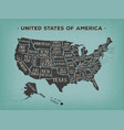 vintage american poster with states names vector image