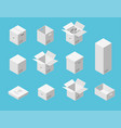 white carton packaging boxes set isometric view vector image