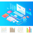 workplace with laptop with charts and extra stuff vector image vector image