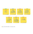 yellow realistic sticky notes with shadow vector image vector image