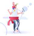 young father spending time with child man ironing vector image