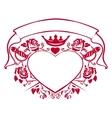 Emblem of love - shape heart dagger crown vector image