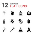 12 flame icons vector image vector image