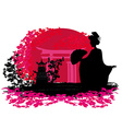 abstract background- Geisha silhouette at sunset vector image vector image