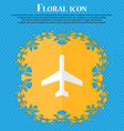 airplane Floral flat design on a blue abstract vector image