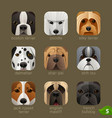 animal faces for app icons-dogs set 4 vector image vector image