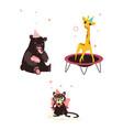 bear cat and giraffe at birthday party vector image vector image
