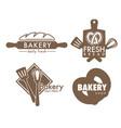 bread and pretzel bakery shop kitchen tools vector image