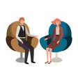 business couple sitting in chair avatar character vector image vector image