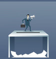 business man holding megaphone stand on ballot box vector image vector image