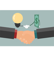 Businessman handshake exchange money and idea vector image vector image