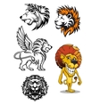 Cartoon and heraldic lion characters vector image
