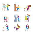 cartoon color characters people and artistic vector image vector image