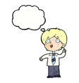 cartoon schoolboy answering question with thought vector image vector image