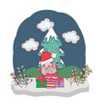 Christmas santa claus with gift in snowscape