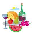 dinner with fruits and wine vector image vector image