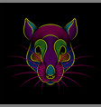engraving stylized psychedelic rat portrait vector image