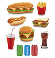 fast food items-hamburger fries hotdog drinks vector image