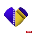 Flag icon in the form of heart I love Bosnia and vector image vector image