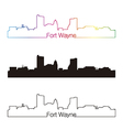 Fort Wayne skyline linear style with rainbow vector image vector image