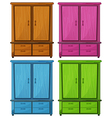 Four different colors of a wooden cabinet vector image vector image