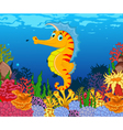 funny seahorse cartoon with beauty sea life backgr vector image vector image