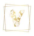 golden ornamental alphabet letter v font on white vector image