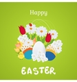 Happy Easter Card with Eggs Flowers Poster vector image vector image