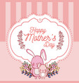 happy mothers day card with cute rabbits cartoons vector image vector image