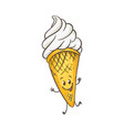 ice cream in wafer cone vector image vector image