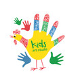 kids art studio logo design colorful hand printed vector image
