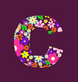 letter of beautiful flowers c vector image