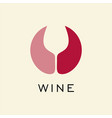 logo for red and rose wine circle with negative vector image