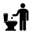 man throwing toilet paper in the toilet vector image vector image