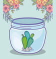 mason jar cactus and stones flowers decoration vector image vector image