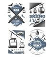 Nordic Skiing Emblem Design Set vector image